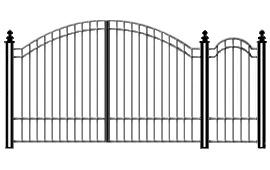 Распашные ворота с примыкающей калиткой. Верхняя часть арочная.