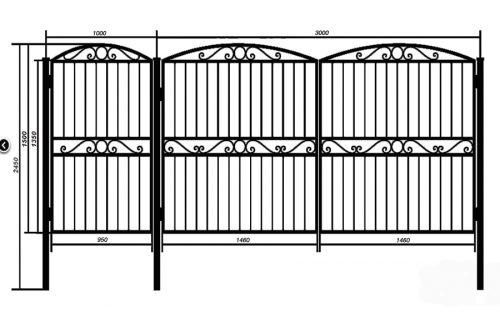 Распашные ворота с калиткой примыкающей к воротам. По верху и центру дополнены элементами ковки.