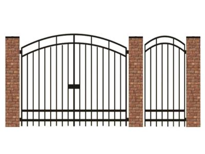 Ворота и калитка из металла, установка на кирпичные столбы.