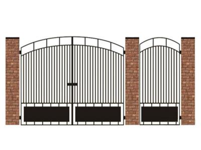 Ворота и калитка из металла с зашивкой в нижней части листом, установка на кирпичные столбы.